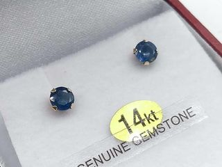 14kt  Yellow Gold 4mm genuine Blue Sapphire stud