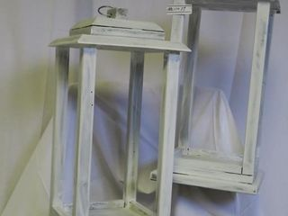 Set of Two Handcrafted Wooden lanterns