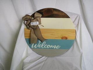 Round Hand Painted Welcome Sign