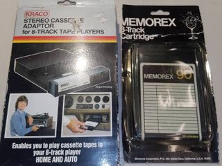 Kraco Stereo Cassette Adaptor For 8 Track Tape Players and 1 8 Track Cartridge
