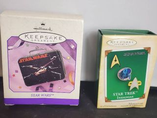 lot of 2 Hallmark Keepsake Ornament  Starwars lunchbox and Star Trek Card