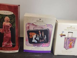 lot of 2 Hallmark Keepsake Ornaments  Marilyn Monroe  Barbie lunchbox and Hannah Montana