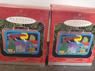 lot of 2 Hallmark Keepsake Ornament  Superman lunchboxes