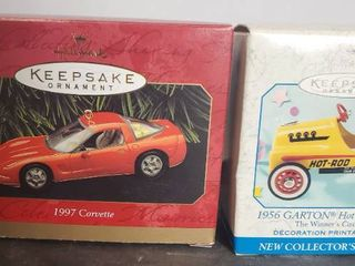 lot of 2 Hallmark Keepsake Ornaments  1997 Corvette  1956 Garton Hot Rod Racer