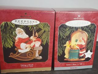 lot of 2 Hallmark Keepsake Ornament  Santa Taking a Break  Santas Show and Tell