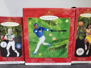 lot of 3 Professional Sports Hallmark Keepsake Ornaments  Magic Johnson   Sammy Sosa and Joe Namath