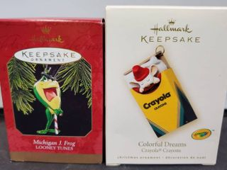lot of 2 Classic Hallmark Keepsake Crayola and Michigan J Frog