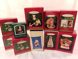 lot of 10 Hallmark Keepsake Ornament Polar Bears and Snowmen
