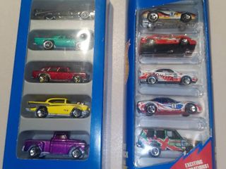 Two 5 Packs of Hot Wheels Cars