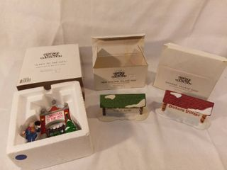 lot of 3 The Heritage Village Collection Christmas Figurines Signs