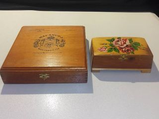 Macanudo Wood Cigar Box and Rose Painted Wood Trinket Box