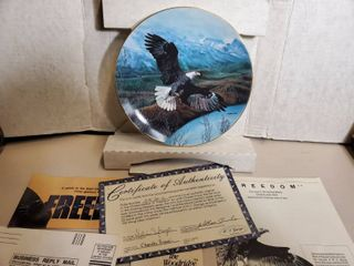 Freedom Eagle Decorative Plate  By Charles Frace  with Certificate of Authenticity