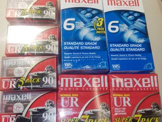 lot of 6 Maxell VHS Tapes and 33 Maxell Audio Cassette Tapes