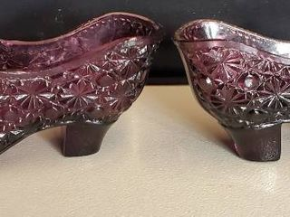 Pair of Button and Bow Vintage Glass Shoe Color Purple