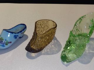 lot of 2 Glass Slippers and 1 Porcelain Clog