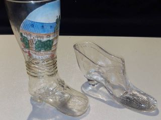 1 Clear Glass Slipper and 1 Braunschweig Beer Boot