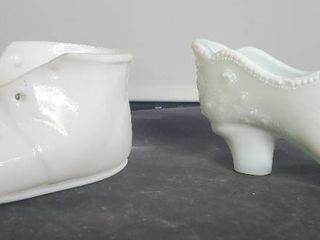 lot of 2 White Glass Shoes  Heel and Baby Shoe