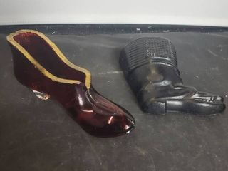 lot of 2 Shoes  Red and Gilded and 1 Metal Hanging Black Boot