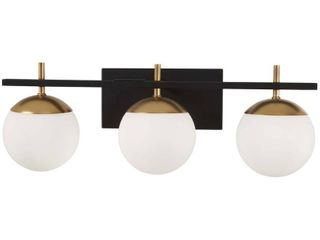 George Kovacs Alluria 24in W Black and Gold 3 light Bath light