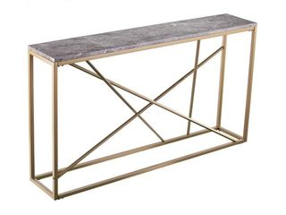 Southern Enterprises Arendal Skinny Console Table  29in H x 52in W x 10in D  Gold Gray