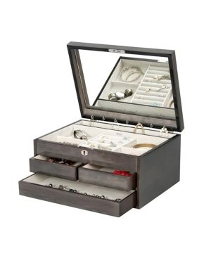 Mele   Co  Claudia locking Wooden Jewelry Chest in Oceanside Grey Retail 113 99