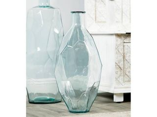 lITTON lANE Tall Decorative Soda lime Glass Flower Vase with Angular Textured Body  Clear