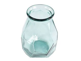 14in x 10in Decorative Glass Flower Vase with Textured Body   Olivia  amp  May