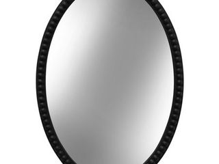 Oval Wood Frame Mirror with Beaded Trim   Black Finish