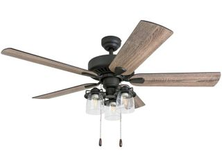 Prominence Home Briarcrest Farmhouse 52 Inch Aged Bronze Indoor Ceiling Fan  Multi Arm lED lighting with Barnwood Tumbleweed Blades