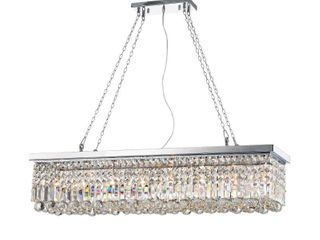 Rectangular Chandelier Kitchen Island Crystal Dining Industrial lighting 8 light Retail 215 49