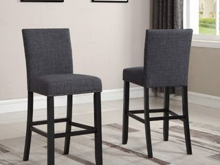 Biony Fabric Bar Stools with Nailhead Trim  Set of 2