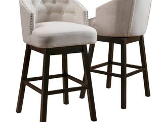 Ogden 35 inch Fabric Swivel Backed Barstool  Set of 2  by Christopher Knight Home