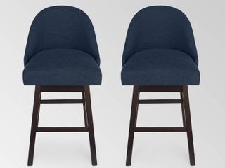 Boyd Modern Upholstered Swivel Bar Stool  Set of 2  by Christopher Knight Home