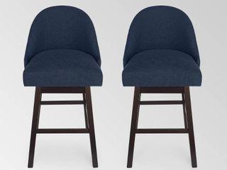Boyd Modern Upholstered Swivel Bar Stool  Set of 2  by Christopher Knight Home