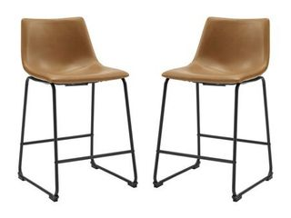 26in Faux leather Counter Stool 2 pack   Whiskey Brown