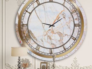 Designart White Marble Glam Wall Clock