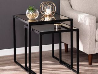 Silver Orchid linesse Contemporary Mirror End Tables  Set of 2