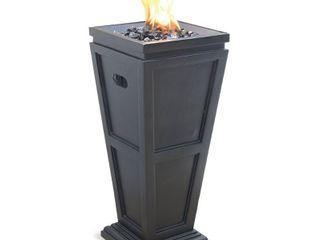 Endless Summer lP Gas Outdoor Fire Column  Slate Finish