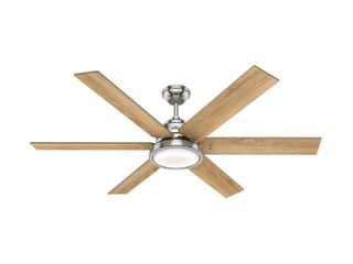 Hunter 60in Warrant Brushed Nickel Ceiling Fan with light Kit and Wall Control