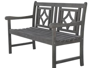 Renaissance Hardwood Diamond Outdoor Patio Bench   Gray   Vifah