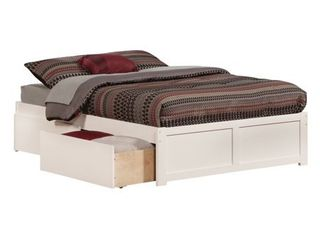 Concord Full Platform Bed with Flat Panel Foot Board and 2 Urban Bed Drawers in White Retail 431 49