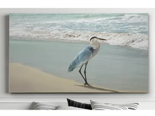 Premium Gallery Wrapped Canvas  Beach Set Heron