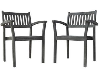 Renaissance Outdoor Patio Hand Scraped Wood Stacking Armchairs   Set of 2