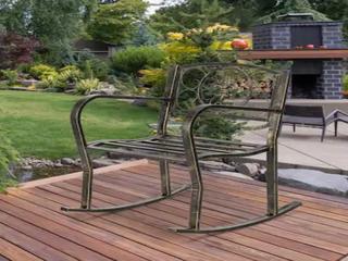 Outdoor Garden Accent Iron Rocking Chair