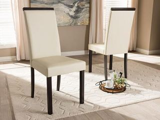 Daveney Modern   Contemporary Faux leather Upholstered Dining Chairs   Set of 2