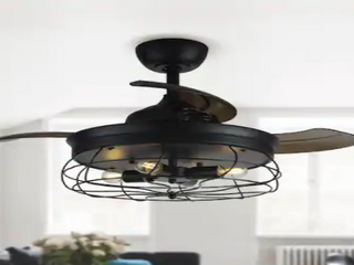 Industrial Retractable 3 Blade Ceiling Fan w  Remote