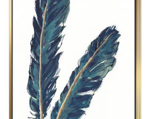 Designart  Gold Indigo Feathers IV  Modern Canvas Art