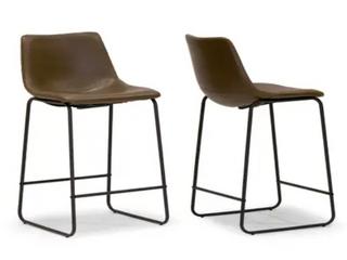 Carbon loft Prusiner Faux leather Counter Stools   Set of 2