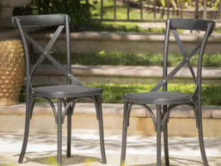 Danish Outdoor Farmhouse Dining Chairs   Set of 2