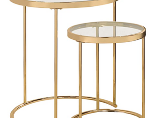 Gold 2 Piece Round Glass Top Nesting Table